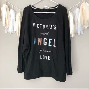 Victoria's Secret Black Pullover Angel Sweatshirt